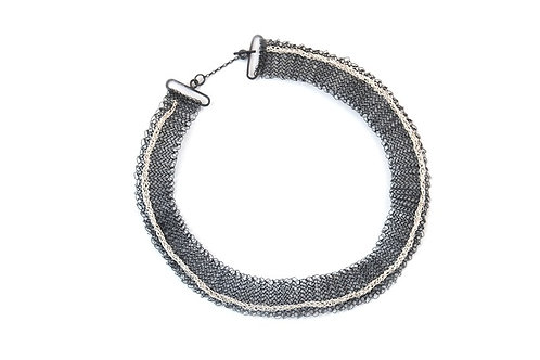 Crocheted Silver Statement Necklace