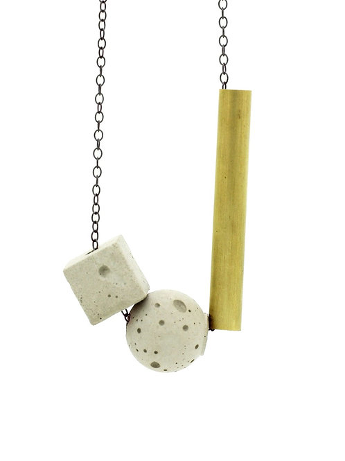 Concrete and Brass Necklace on Silver Chain