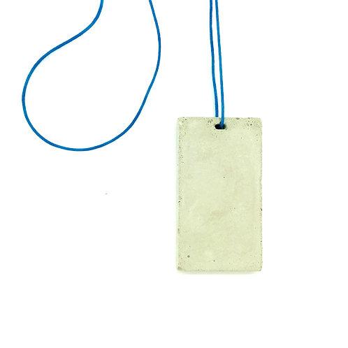 Concrete Rectangular Pendant on Blue Cord