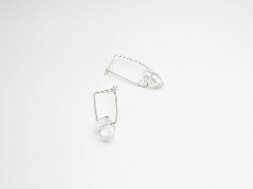 Small silver earrings with clear Quartz