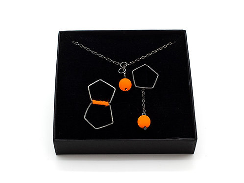Jewellery Set - Silver Pendant and Stud Earrings - Orange
