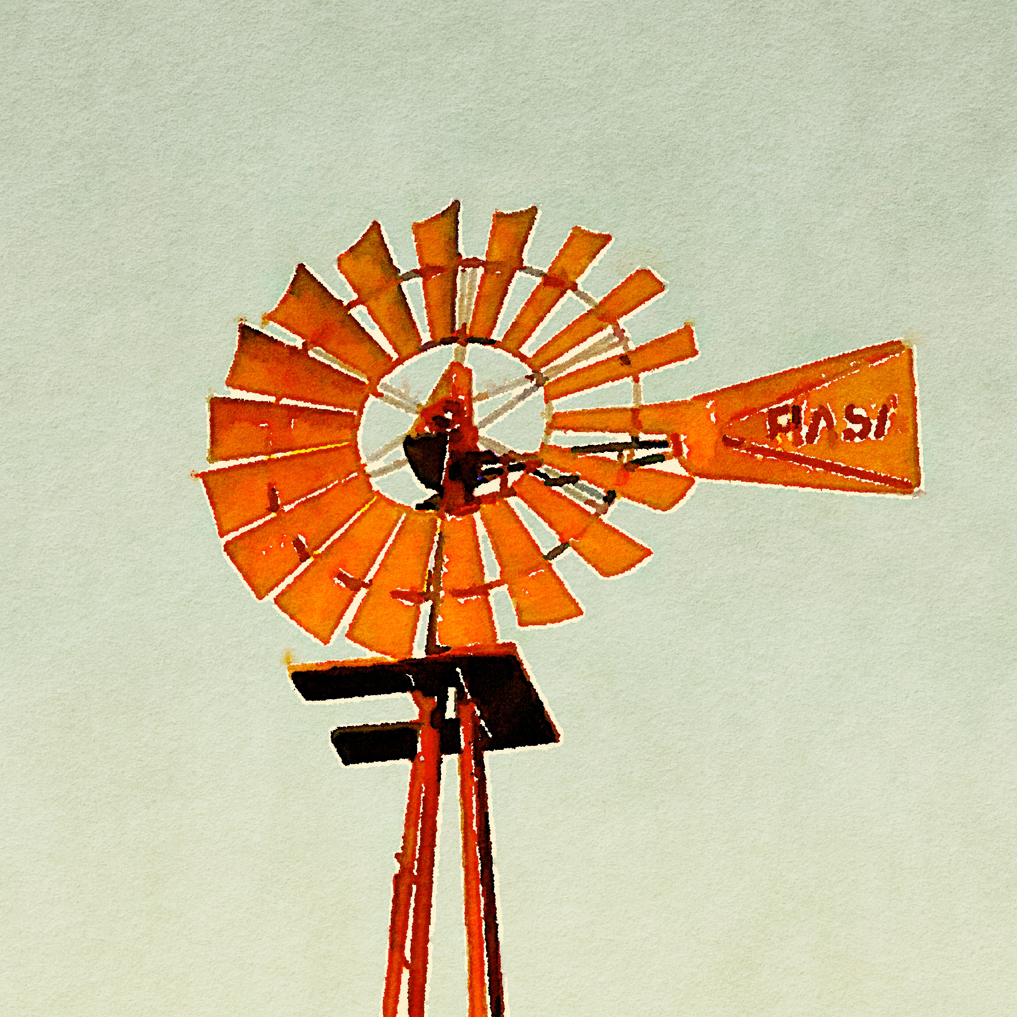 windmill watercolor