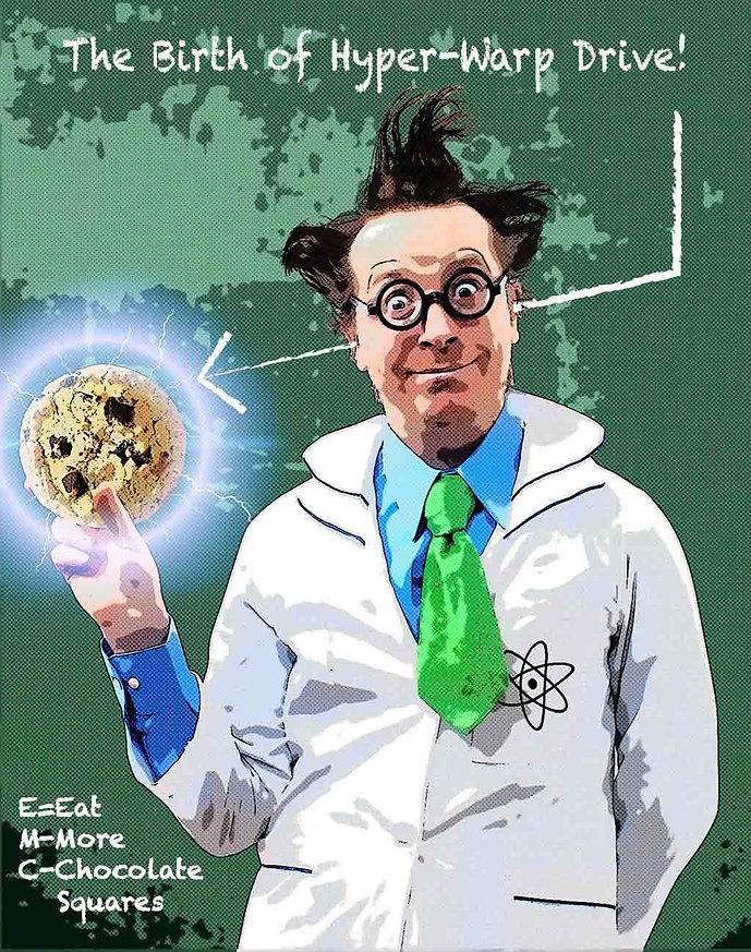 Mad professor holding cookie warp drive.