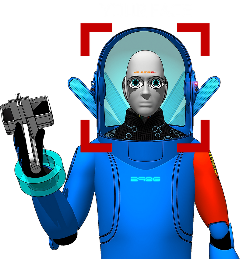 Blue sci-fi spacesuit avatar.