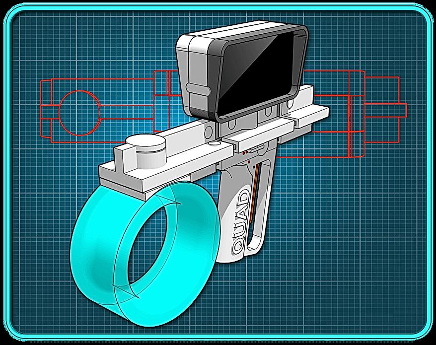 A white sci-fi pistol folded up on a blue background.