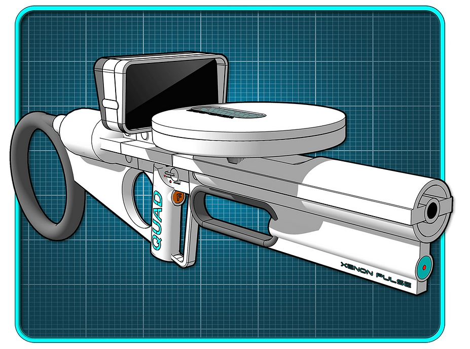 White sci-fi tommy gun on blue grid background.