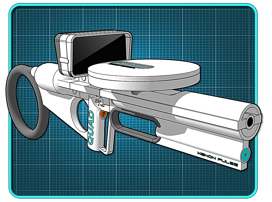 White sci-fi tommy gun on blue grid background.