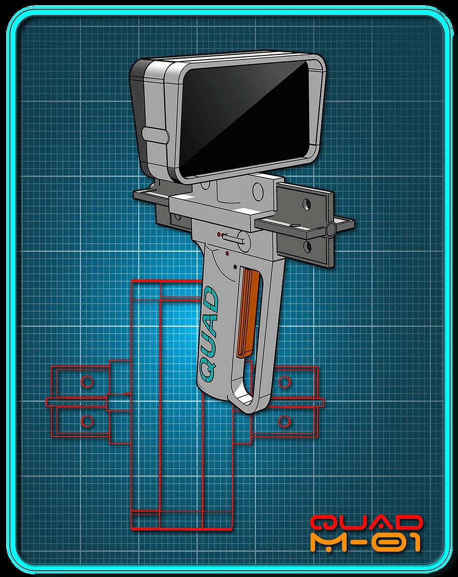 A white sci-fi pistol on a blue background.