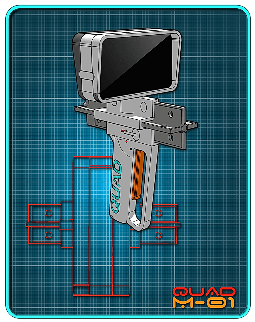 A white sci-fi pistol on a blue background.