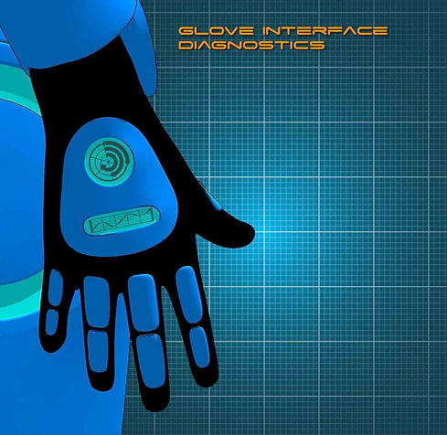 A blue space glove with diagnostic interface. Only in selfie comic.