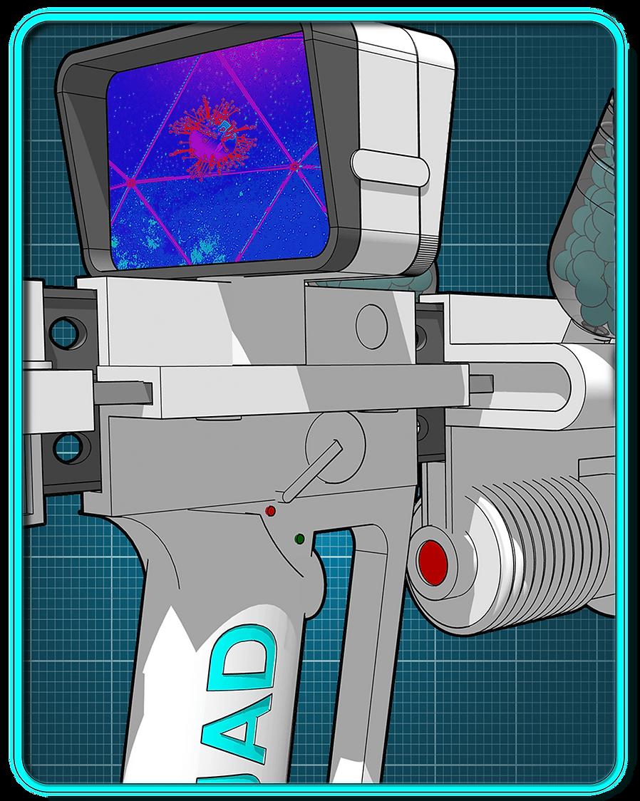 Thermal display on sci-fi shotgun.