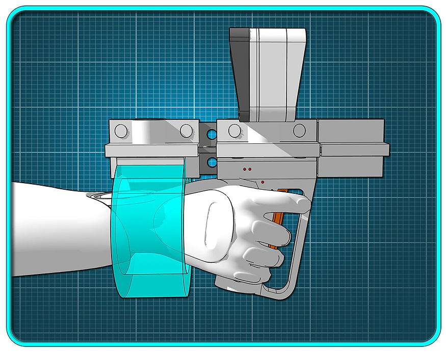 A white sci-fi pistol in firing position..