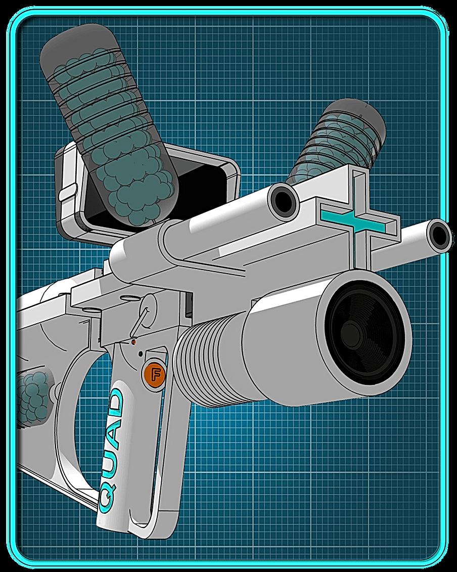 A sci-fi shotgun showing sonic weapon.