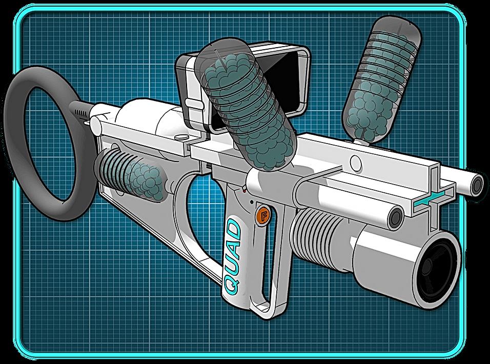 A sci-fi shotgun on a blue grid background.