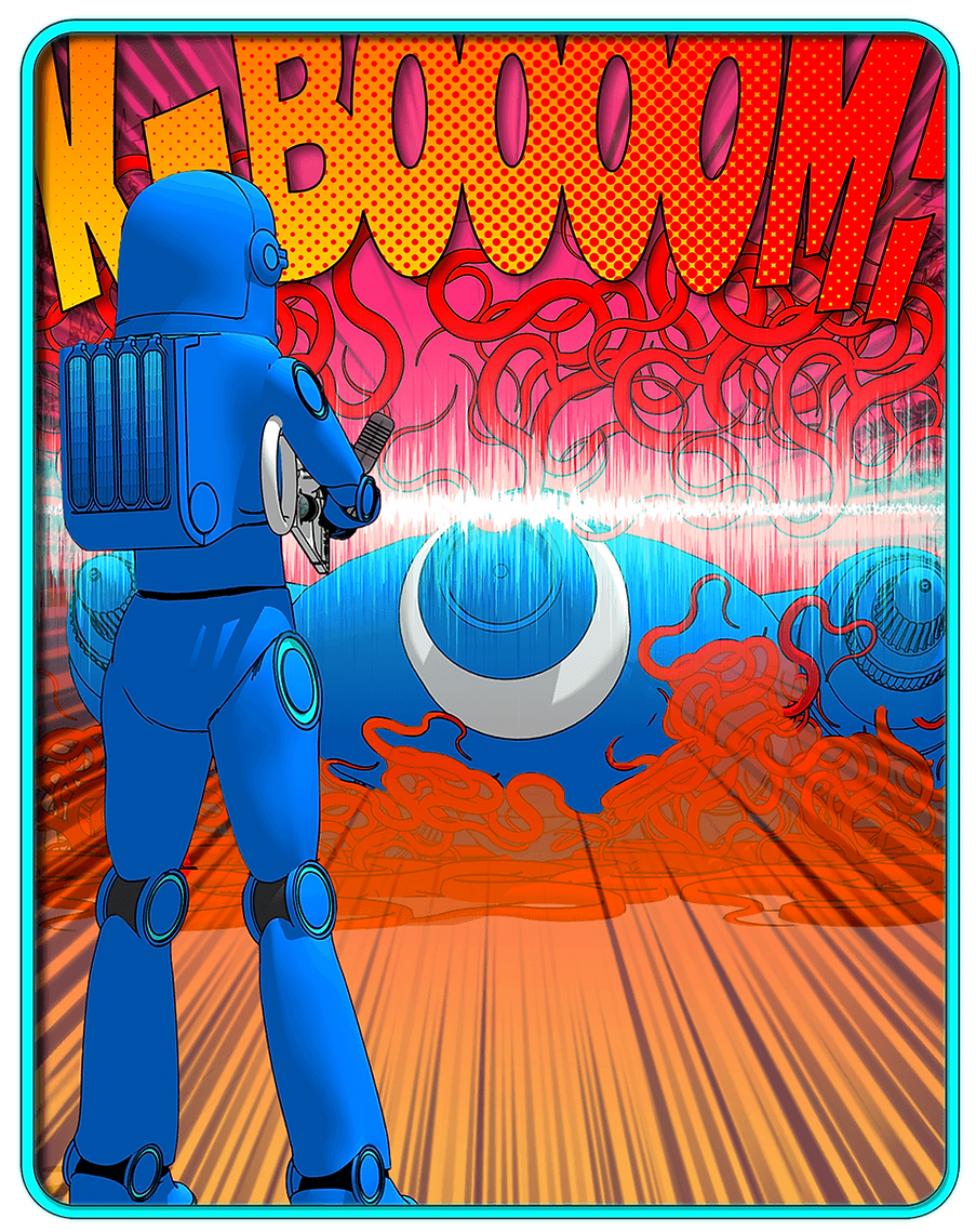 Astronaut shooting a sonic shotgun at enemy.