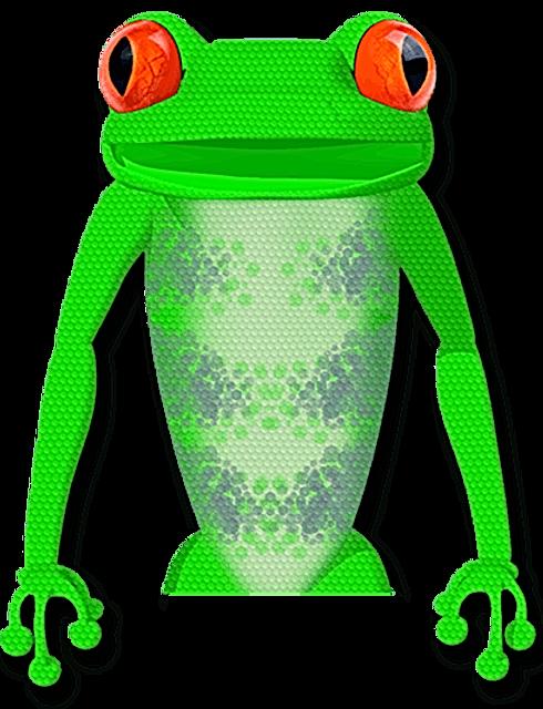 Selficom presents A large green alien frog talking.