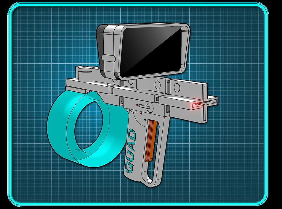 A white sci-fi pistol on a blue backdrop.