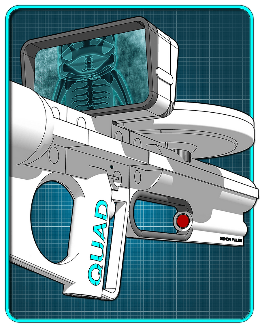 Sci-fi machine gun with X-ray sight.