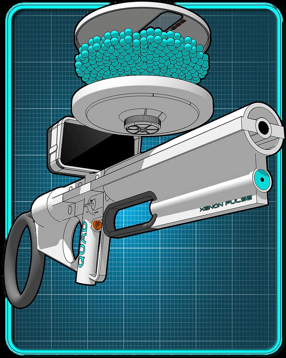 Sci-fi weapon showing ammunition.