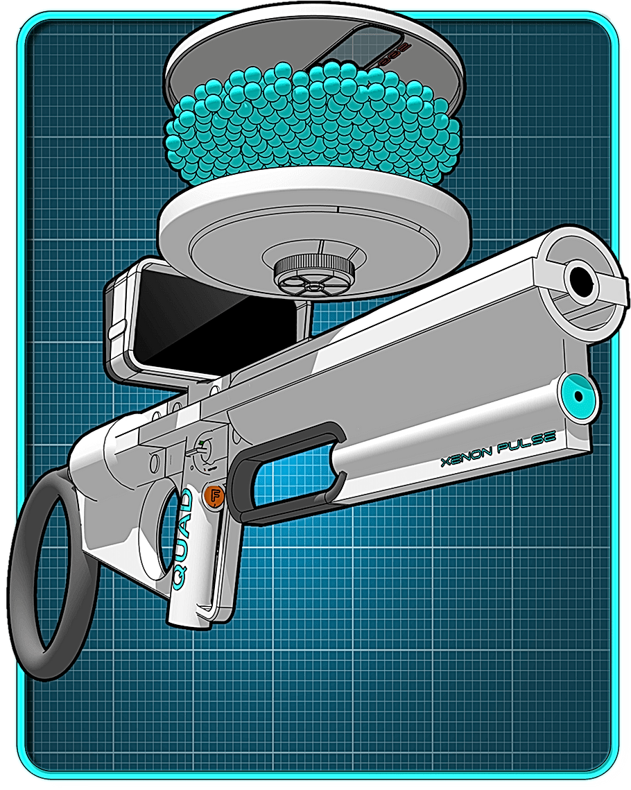 Sci-fi weapon showing ammunition.