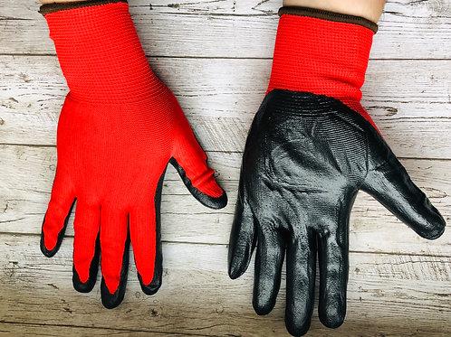 Перчатки нейлоновые красные с черным нитриловым покрытием