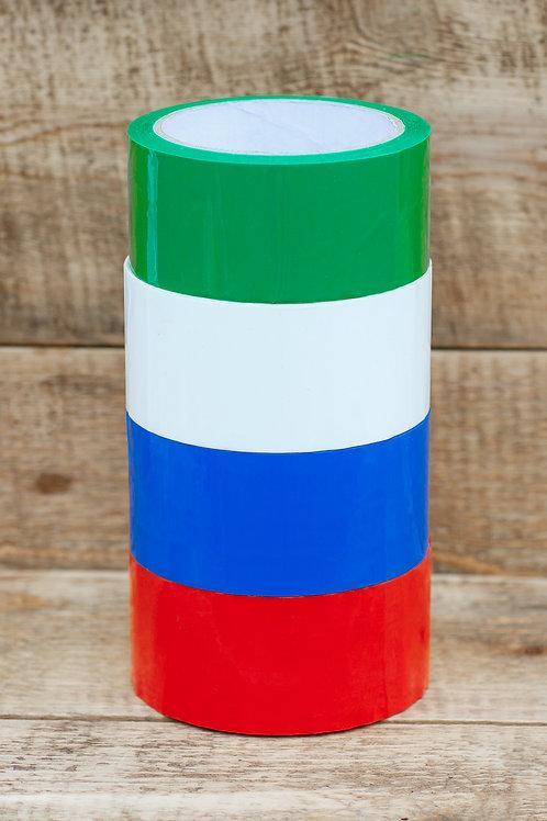 Упаковочный цветной скотч 48мм*50м. Цвета (красный, коричневый, зеленый, оранж.,