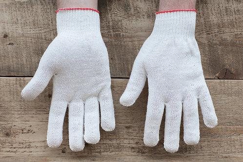 Перчатки ХБ 10 класс 5 нитка (белая, серая) (без нанесения).
