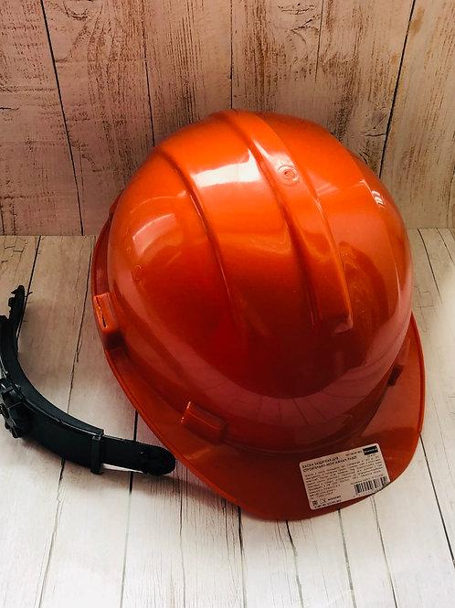 Каска строительная Эталон храповый механизм (оранжевая, белая)