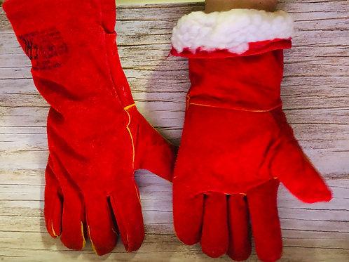 Краги спилковые пятипалые красные утепленные искусственным мехом.