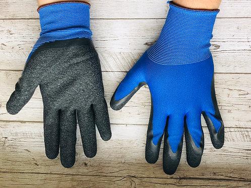 Перчатки нейлоновые рифлёные синие с черным.Пр-во СВС. Россия