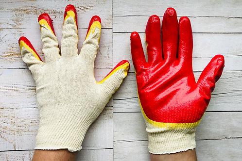 Перчатки двойной облив. Пр-во СВС. цвет жел. /крас.