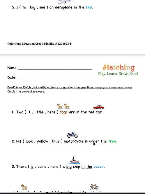 Pre Primer Words (Transportation)