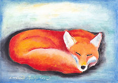 Sleepig fox. A painting by Lucia Babjakova, acrylics on paper.