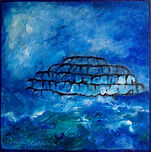 West. West pier in the storm. A painting by Lucia Babjakova, acrylics on canvas.