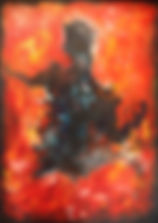 dark figure fire red black original art