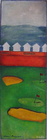 Two Flags. Two golf flags on Hove pitch and putt with beach huts and the sea in view. A painting by Lucia Babjakova, acrylics on canvas.