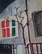 Dark Room. An evening scene of a tree in front of a window lit red and green. A painting by Lucia Babjakova, acrylics on canvas.