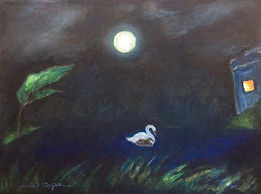 Night Watch. A swan with a signet on a pond at night under the full moon. A painting by Lucia Babjakova, acrylics on canvas.