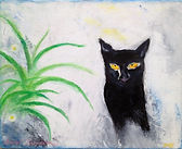 Brighton Neighbour. A black cat on a white background next to a green plant. A painting by Lucia Babjakova, acrylics on canvas.