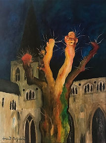 Big Trees Love Graveyards, acrylics on canvas, Lucia Babjakova art