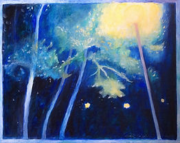 Park Light. A lamp lighting up the trees in Vale Park in Portslade. A painting by Lucia Babjakova, acrylics on canvas.
