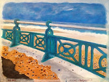 Diamonds. A view of the sea from the promenade standing by the railings. A painting by Lucia Babjakova, acrylics on canvas.