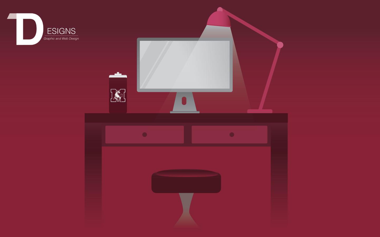 Desk and Computer Graphic Illustration