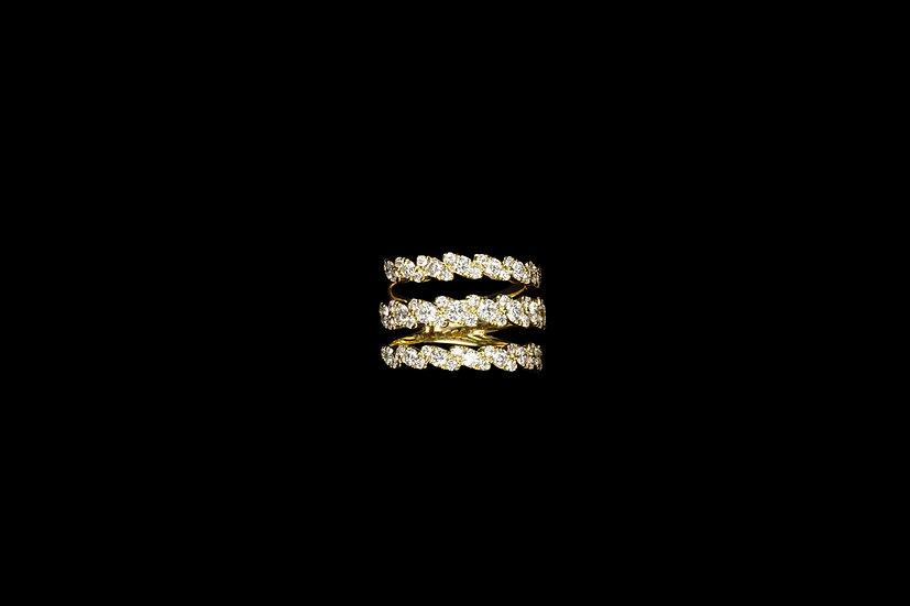 18K 3 Row Diamond Ring