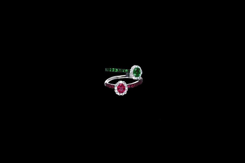 Ruby and Tsavorite Diamond Ring