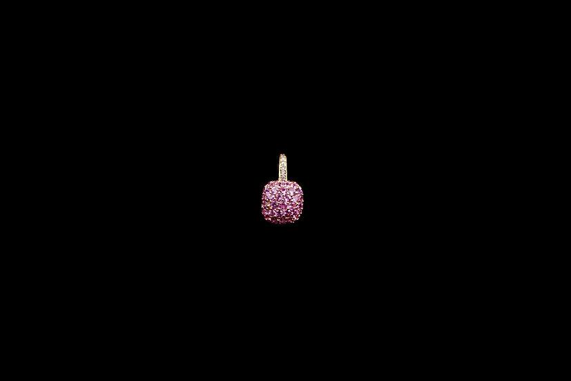 18K Pink Sapphire Cushion Pendant