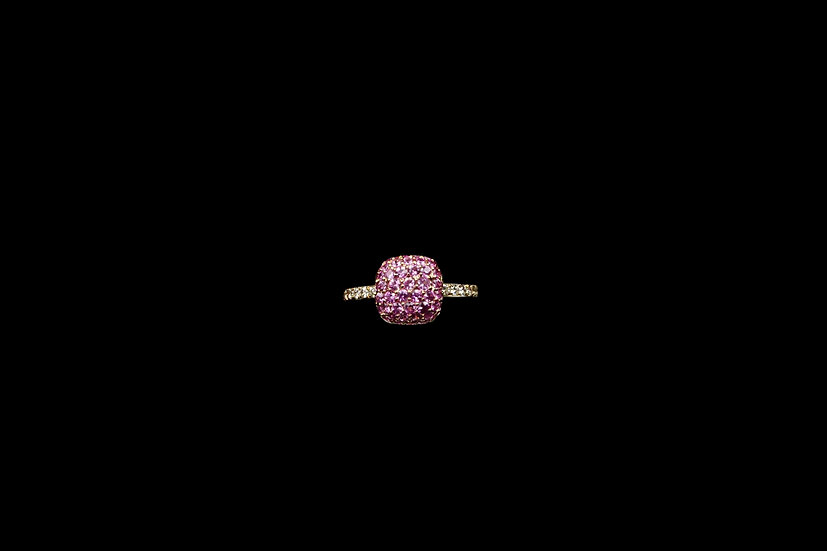 18K Pink Sapphire Cushion Ring