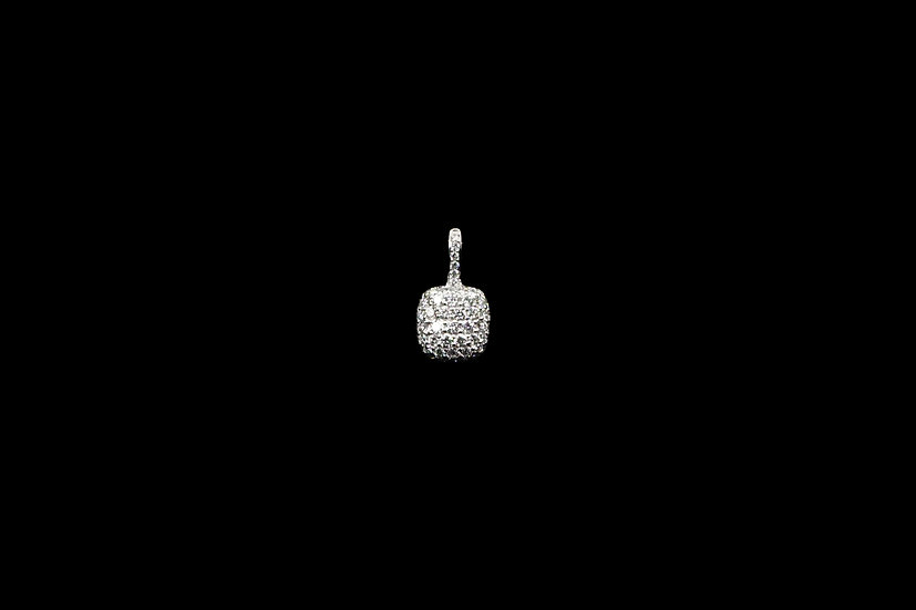 18K White Gold Cushion Pendant