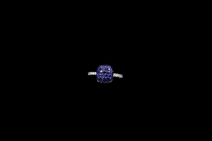 18K Sapphire Cushion Ring