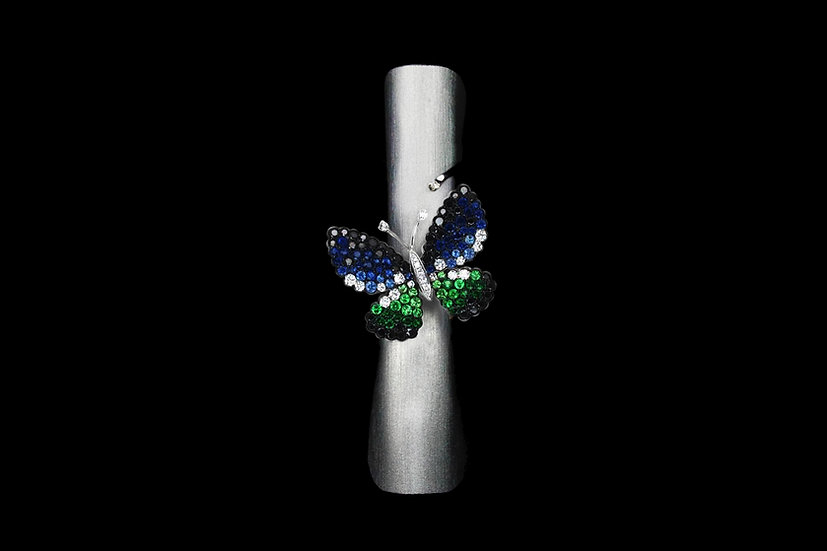 Small Sapphire and Tsavorite Butterfly